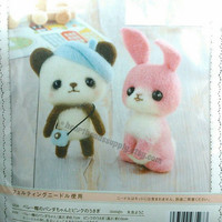 Panda and Rabbit, with 2 needles, diy wool felting kit easy, beginner, Japan kawaii keychain charm, id1360829 crafter gift