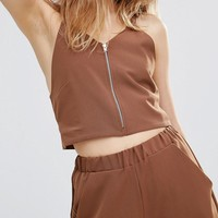 House Of Sunny Zip Front Crop Top Co-Ord