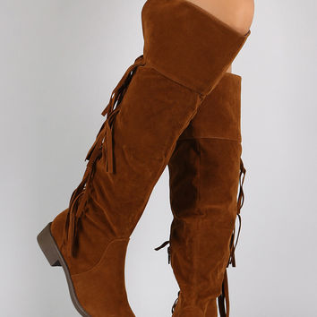 Suede Back Layered Fringe Riding Knee High Boots