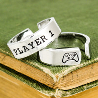 Player 1 & Player 2 Video Game Ring Set - Xbox One - Gamer Gift - Best Friends - Adjustable Aluminum Rings