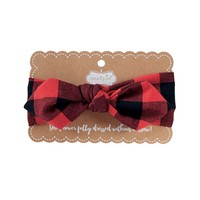 Buffalo Check Bow Wrap Headband in Red