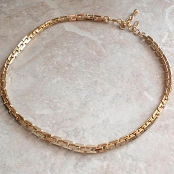 Monet Heavy Chain Gold Tone Square Link 17 Inch 5.5mm Vintage 121214RC