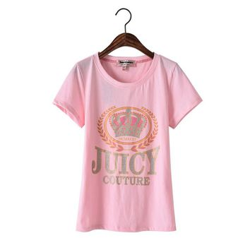 Juicy Couture Glitter Crown Graphic Tee T010 Women T-shirt Pink