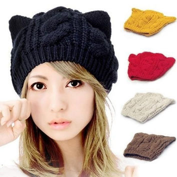 Cat Ears Cute Hats for women brand knitting warm 2014 korean fashion hot selling lovely Beanies Winter knitted Cap = 1958118596