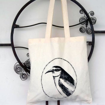 Cute Penguin with Vintage Frame Canvas Tote Bag Screen Print