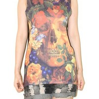 Vampire Skull Flowers Black Colorful Tank Top Punk Rock Shirt Size S