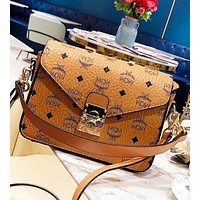 MCM Fashion New More Letter Crossbody Bag Shoulder Bag Women Brown