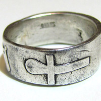 Fine Silver Ring - Egyptian Anubis, Bastet and Ankh