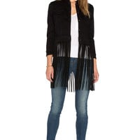 ThePerfext Molly Fringe Leather Jacket in Black Suede Fringe