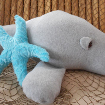 Manatee toy, sea cow toy, manatee plushie, stuffed manatee, sea animal toy, grey manatee, aquatic toy, manatee cushion