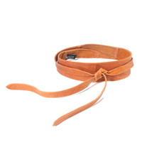 Ada Collection Leather Sash Wrap Belt in Tan