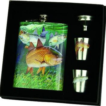 Guy Harvey Redfish Trout 7 oz. Flask Set