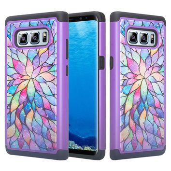 Samsung Galaxy Note 8 Case, Slim Hybrid Crystal Rhinestone Dual Layer [Shock Resistant] Protective Cover for Galaxy Note 8 - Rainbow Flower