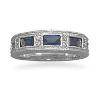 Dark Blue and Clear Cubic Zirconia Ring