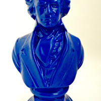 FREE SHIPPING--Blue Beethoven Figurine/Bust-Vintage, Retro