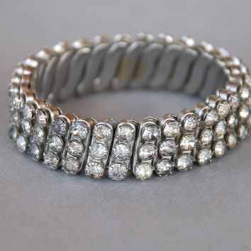 Vintage Clear Rhinestone Expansion Bracelet 3 Row Made in British Hong Kong Brand New York Wedding Pinup 1950's // Vintage Costume Jewelry