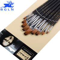 Bgln 9pcs set Nylon Oil Paint Brush Flat Painting Brush For Oil Acrylic Brush Pen pincel para pintura Art Supplies 801