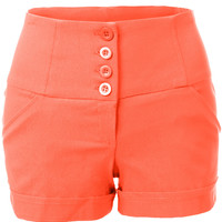 LE3NO Womens High Waisted Sailor Shorts with Stretch
