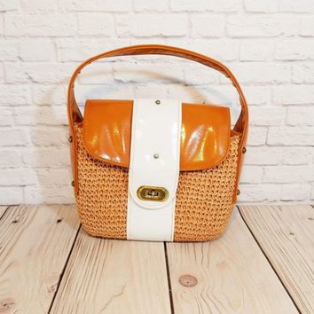Vintage Woven Style Brown White Purse Gaymode Patent Accent