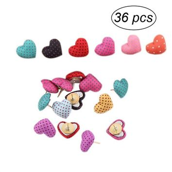 36pcs Polka Dots Heart Shape Pushpin Thumbtack Pins Decorative DIY Tool for School Home and Office Use