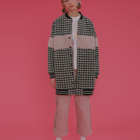 Tyakasha Love Plaid Embroidery Long Baseball Jacket