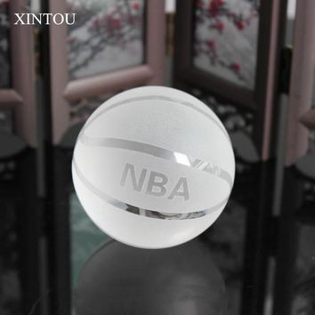 XINTOU Crystal Sphere NBA Basketball Model Ball Sports Dreamer Feng Shui Decorative Glass Balls miniature collectible Crafts
