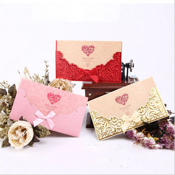Free Shipping China Style 50pcs/lot Casamento Wedding Invitations China Made Convite Wedding Decoration Event & Party Supplies