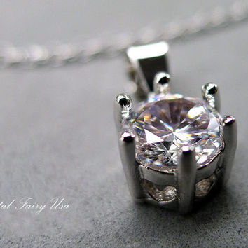 CZ Necklace, Single Diamond Simple Solitaire Pendant Clear Stone Healing