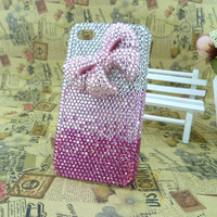Handmade Fashion Phone case cover for Motorola Droid X MB810/Verizon Droid X2 X 2 II MB870 Charms Blingbling Rhinestone Lovely Pink Bowknot