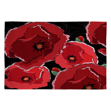 Belle13 Red Poppies On Black Woven Rug