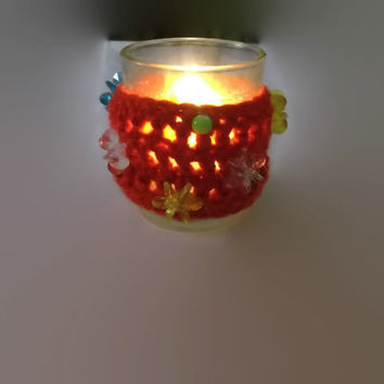 Red Crochet Candle/Jar/Ornament Wrap with Snowflake Beads for Small Jar or Christmas Ornament Handmade Home Decor Gift