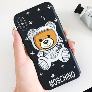 Moschino Tide brand classic astronaut Teddy bear iPhone X mobile phone case cover black
