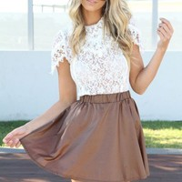 SABO SKIRT Pleather Skirt - Brown - $48.00