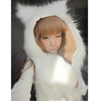 Winter New Fashion  Faux Fur Animal  Beanies With Long Scarf Wolf Fur Hat With Paws   Cartoon Hat