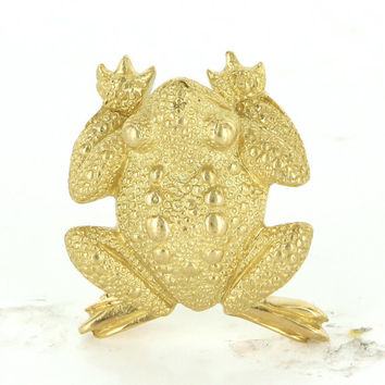 Vintage Toad Brooch Pin 18k Yellow Gold Estate Fine Jewelry Heirloom Pre Owned