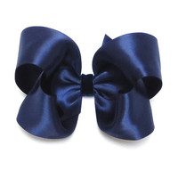 Navy Blue Satin Hairbow with Velvet Center - 4 Inch Boutique Hair Bow on Alligator Clip or Barrette Baby Toddler Girl Adult
