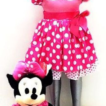 Little Girls Polka Dot Flowers Girl Birthday Party Dress +Minnie Mouse Plush