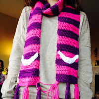 Cheshire Cat Alice in Wonderland Scarf Crochet Handmade
