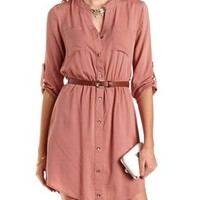 Button-Up Belted Shirt Dress by Charlotte Russe - Cameo Brown