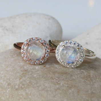 SALE Rainbow Moonstone Halo Ring- Engagement Ring- Promise Ring- Her and His Promise Rings- June Birthstone Ring- Anniversary Ring