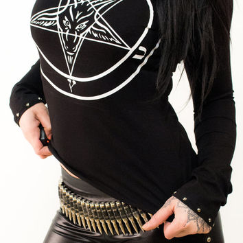 Studded Pentagram Longsleeve - Shirt Sleeve Alchemy Occultshirt Witch Witchshirt Gothicshirt Deathrock Magic Wizard Voodoo sexy stylisch