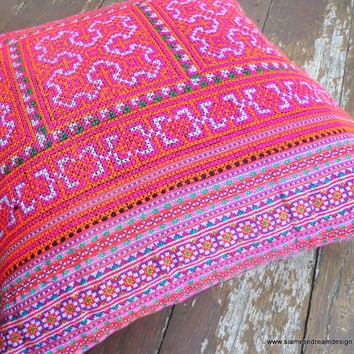Boho Pillows Colorful Embroidered Pink And Orange Hmong Cushion Cover 16 inch