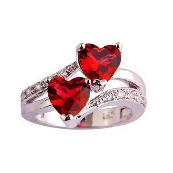 Imitation Zircon Silver Plated Double Love Heart Ring Women Lovers Fashion Jewelry US Size 6-9 Blue Red RG0064
