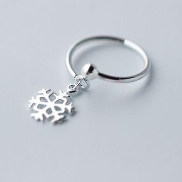 Real. 925 Sterling Silver Jewelry Snowflake Ring Openable Adjustable charms GTLJ1193