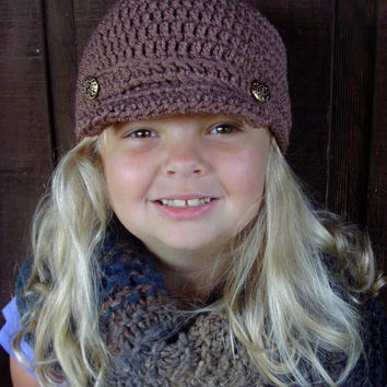 Girls Newsboy Hat. Billed Hat. Brown. Taupe. Christmas Gift Winter Hat Size 0-6 months. 6-12 months. 1-3 years. 4+ years