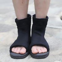 Top Naruto Konoha Ninja Village Black Cosplay Shoes Sandals Boots Costume Gift