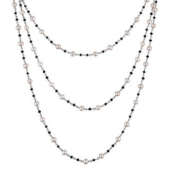 Honora White Pearl and Black Onyx 60in Necklace