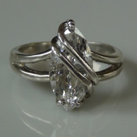 Sterling Silver 925 Marquise Cubic Zirconia Ring Size 8.75