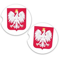 Poland World Flag Coat Arms Sandstone Car Cup Holder Matching Coaster Set