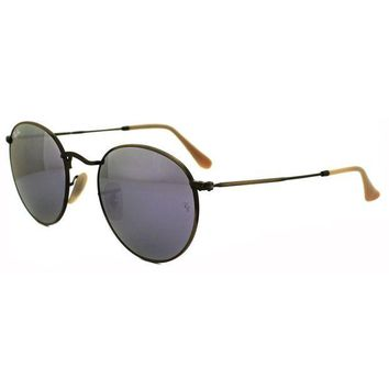 Kalete Ray-Ban Sunglasses Round Metal 3447 167/4K Bronze Copper Lilac Mirror Medium